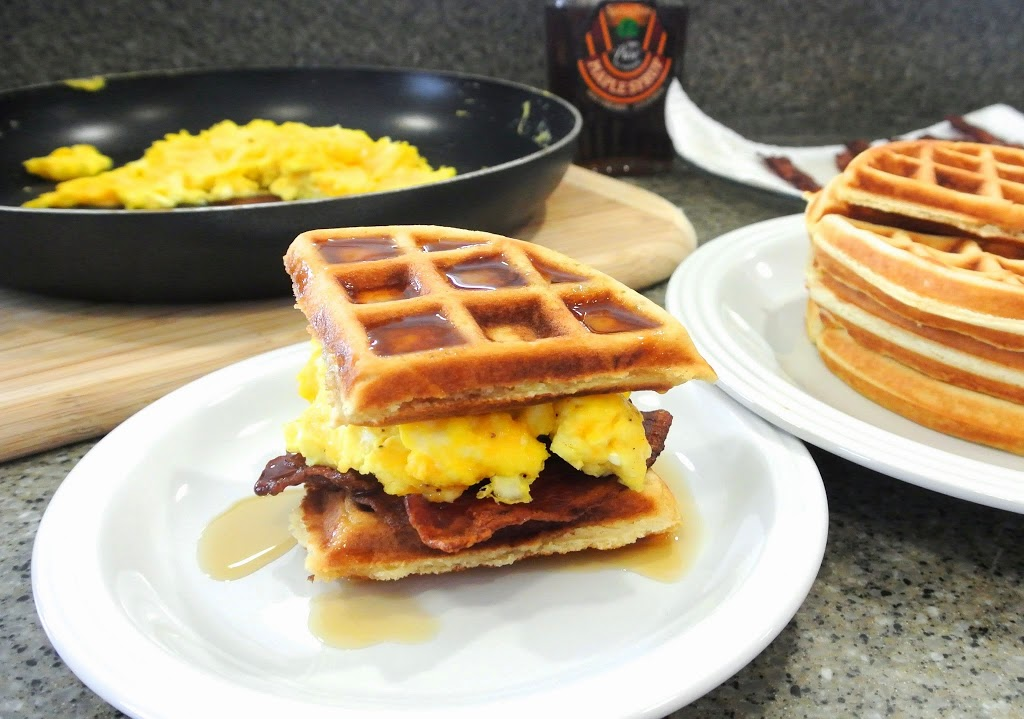 Bacon, Cheesy Eggs and Waffle Sandwich