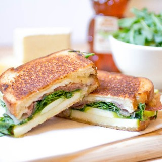 Brie and Gruyere Grilled Cheese with Apples and Prosciutto