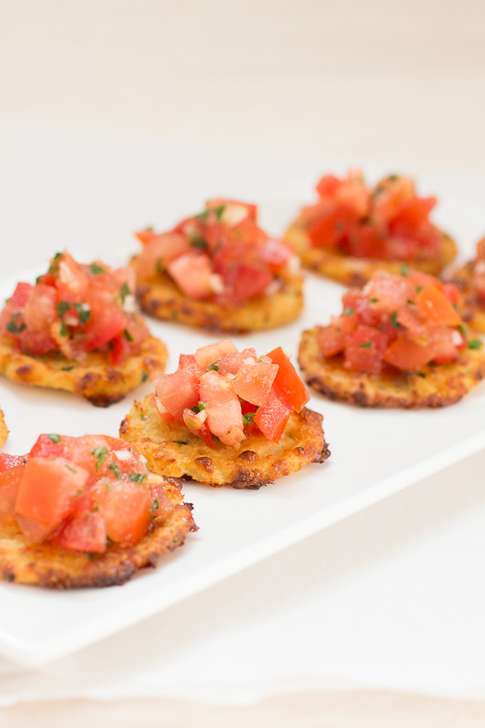 Bruschetta Bites on Mini Cauliflower Crust